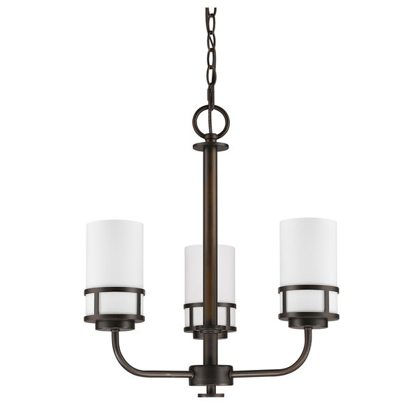 Acclaim Lighting Alexis Oil-rubbed Bronze-finished Steel 3-light Mini Chandelier with White Glass Shades
