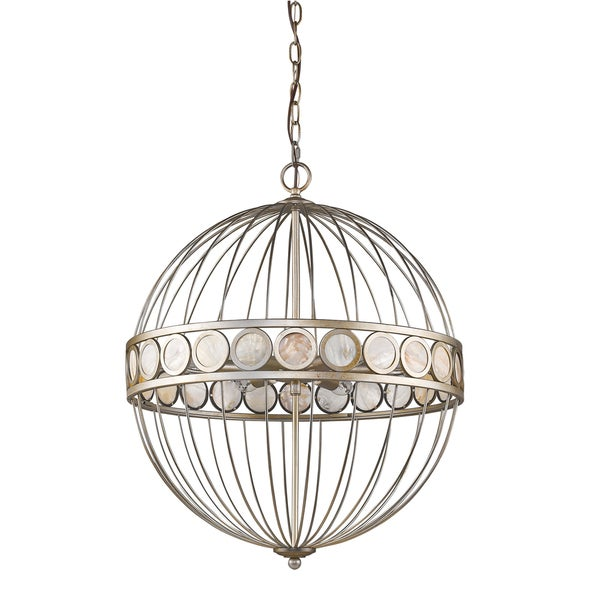 Acclaim Lighting Aria Antique Silver-finished Metal 6-light Cage Pendant Fixture