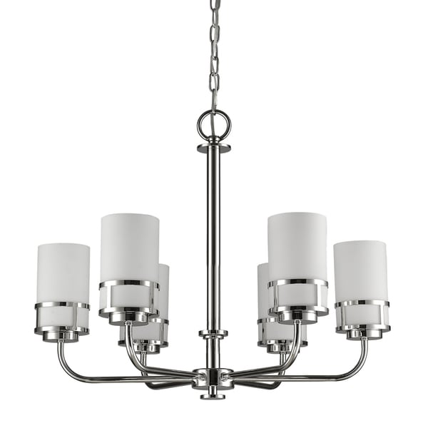 Acclaim Lighting Alexis Polished Nickel 6-Light Chandelier with Glass Shades
