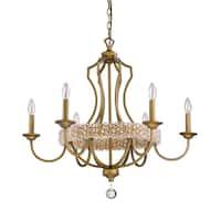 Acclaim Lighting Ava Raw Brass Finish Steel Crystal Pendant 6-light Chandelier