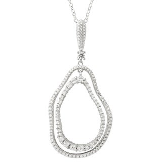 Luxiro Sterling Silver White Cubic Zirconia Double Open Wavy Ovals Pendant Necklace