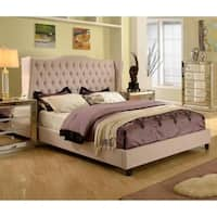 Best Master Furniture Upholstered Taupe Panel Bed