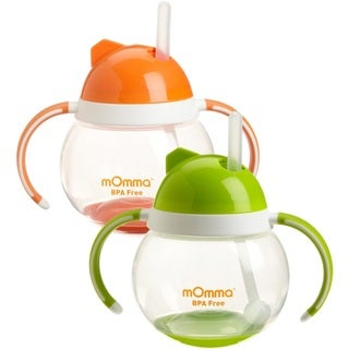 Lansinoh mOmma Straw Cup with Dual Handles - Orange & Green - 2 Pack