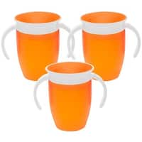 Munchkin Miracle 360 Degree Spoutless Trainer Cup - 7 Ounce  - 3 Pack - Orange/Orange/Orange
