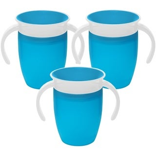 Munchkin Miracle 360 Degree Spoutless Trainer Cup - 7 Ounce - 3 Pack - Blue/Blue/Blue