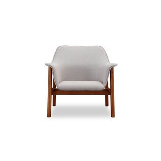 Ceets Miller Mid-century Linen Weave and Rich-walnut-finished Ash Wood Upholstered Bucket-seat Accent Armchair With Flared Arms
