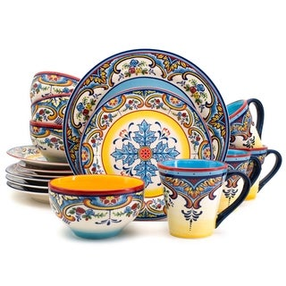 Euro Ceramica Zanzibar Multicolor 16-Piece Dinnerware Set (Service for 4)