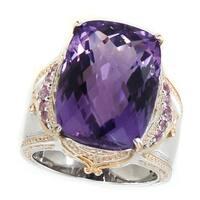 Michael Valitutti Palladium Silver Brazilian Amethyst & Pink Sapphire Milgrain Ring