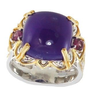 Michael Valitutti Palladium Silver Purple Chalcedony & Rhodolite Scrollwork Ring
