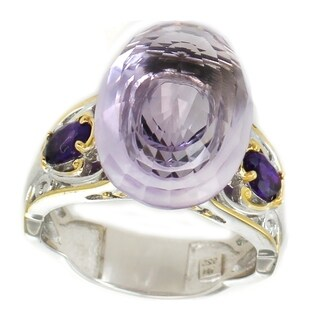 Michael Valitutti Palladium Silver Pink Amethyst & African Amethyst Floating Solitaire Ring