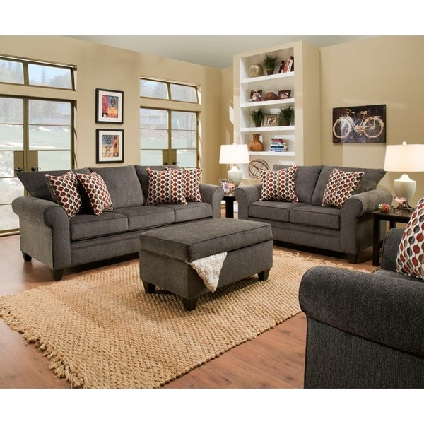 Shop Simmons Upholstery Albany Pewter Sofa And Loveseat