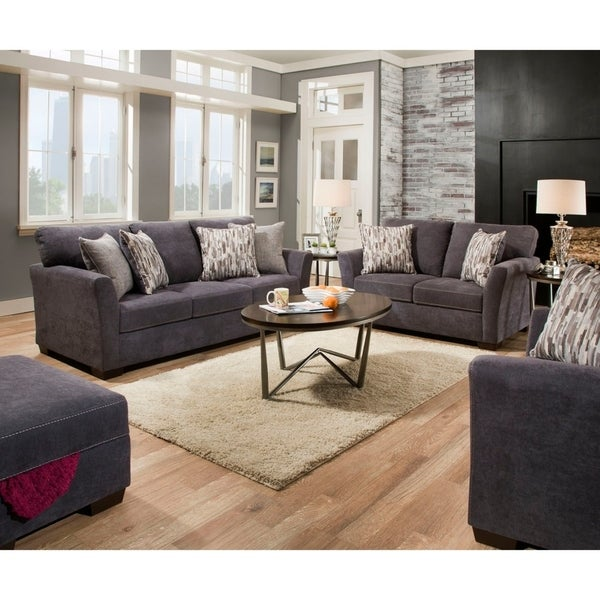 Simmons Upholstery Pacific Steel Sofa And Loveseat Set