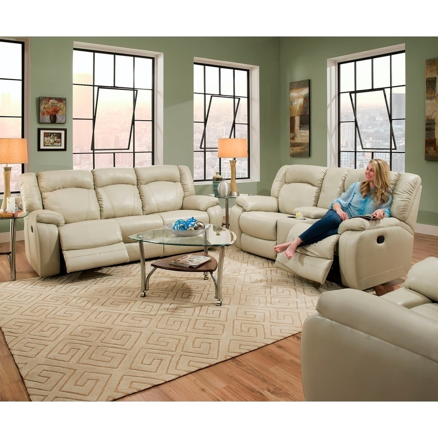 Simmons Upholstery Yahtzee Pearl Double Motion Sofa and L...