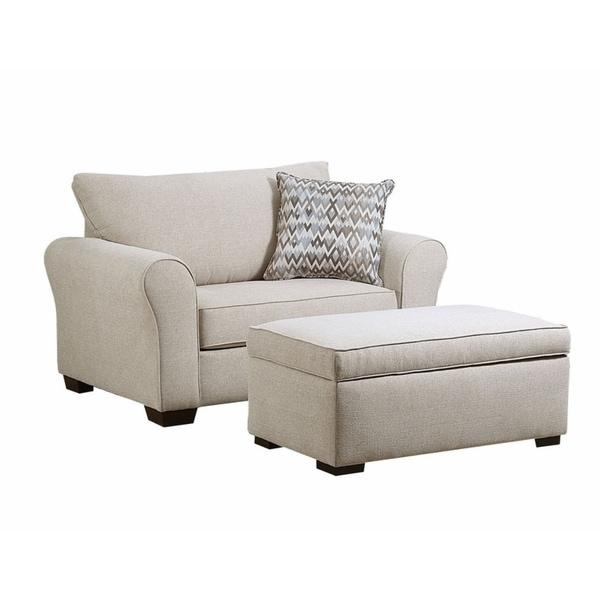 Simmons Upholstery Boston Linen Chair And Ottoman Set