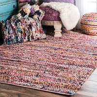 """nuLoom Pink Contemporary Braided Chindi Rug (7' 6 x 9' 6) - 7'6"""" x 9'6"""""""
