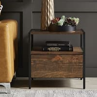 Corey 1-Drawer Rustic Brown End Table by iNSPIRE Q Modern