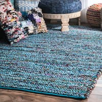 nuLoom Contemporary Braided Chindi Blue Cotton Rug (5' x 8')