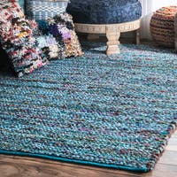 "nuLoom Blue Braided Chindi Contemporary Area Rug (7'6 x 9'6) - 7'6"" x 9'6"""