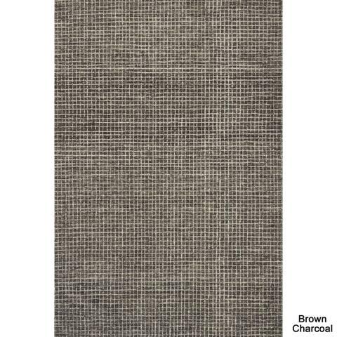 Alexander Home Mosaic Tile Earth-tone Wool Hand-hooked Area Rug - 7'9 x 9'9