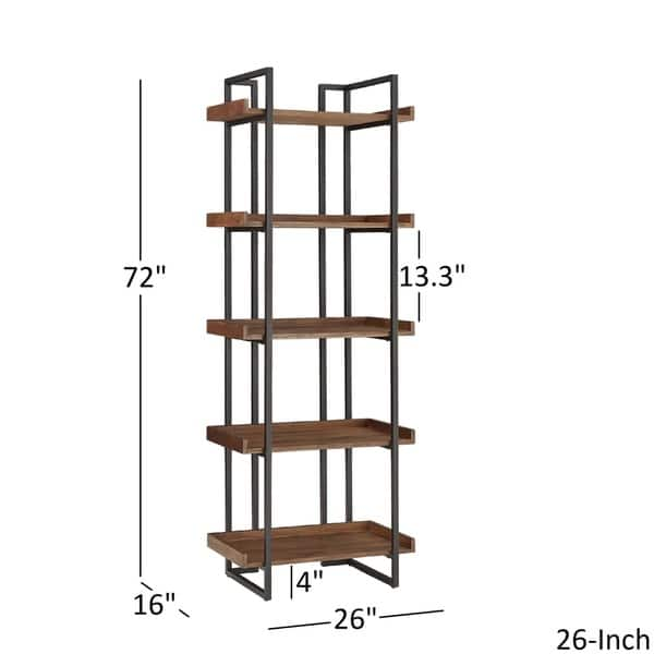Corey Rustic Brown Etagere Bookcases by iNSPIRE Q Modern - On Sale