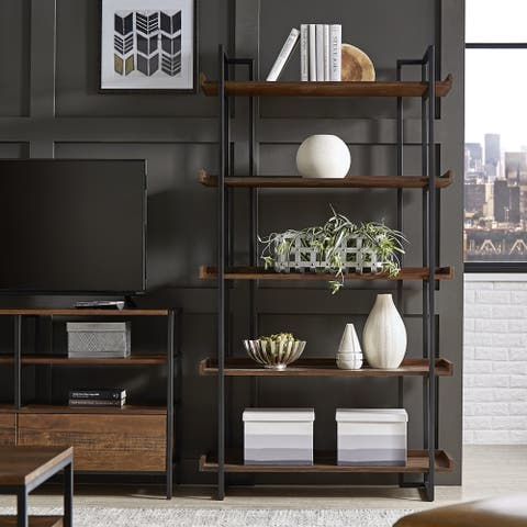 corey rustic brown etagere bookcases by inspire q modern - Distressed Bookshelves