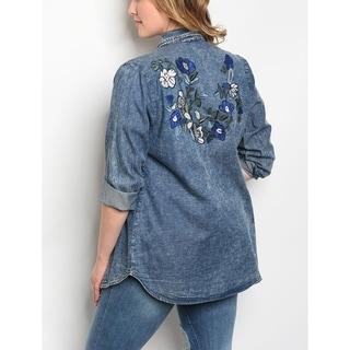 JED Women's Plus Size Denim Button Down Overshirt