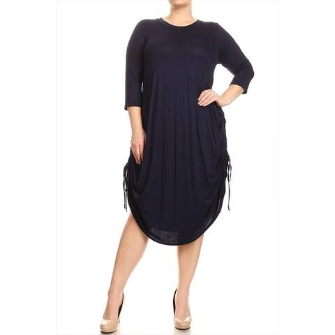 Women's Plus Size Solid Curved Hem Dress