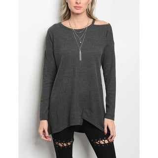 JED Women's Ribbed Cotton Knit Long Sleeve Tunic Top