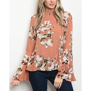 JED Women's Mock Neck Bell Sleeve Floral Top