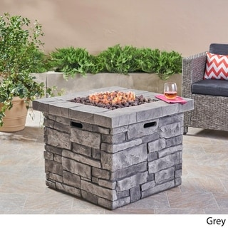 Angeles Outdoor Propane Square Fire Pit Table with Lava Rocks by Christopher Knight Home - N/A (grey)