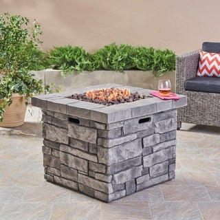 Angeles Outdoor Propane Square Fire Pit Table with Lava Rocks by Christopher Knight Home - N/A