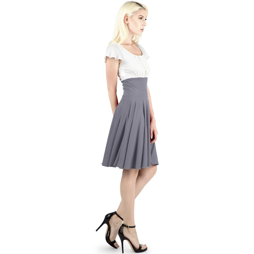 Evanese Womens Short Sleeve Pleat Top A Line Skirt Cocktail Dress