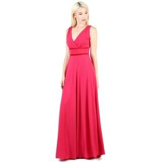 Evanese Women's Elegant Sleeveless Contrast Formal Party Long Dress