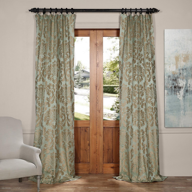 Exclusive Fabrics Astoria Faux Silk Jacquard Curtain Pane...