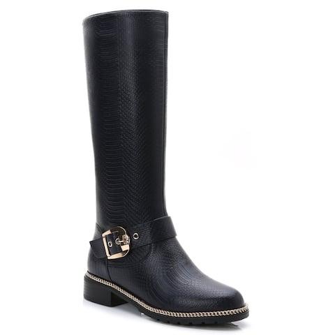 Rosewand Womens Libolo Croc Accent Chain-Link Trim Boots