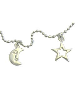 Moon & Star Sterling Silver Anklet (Set of 2)