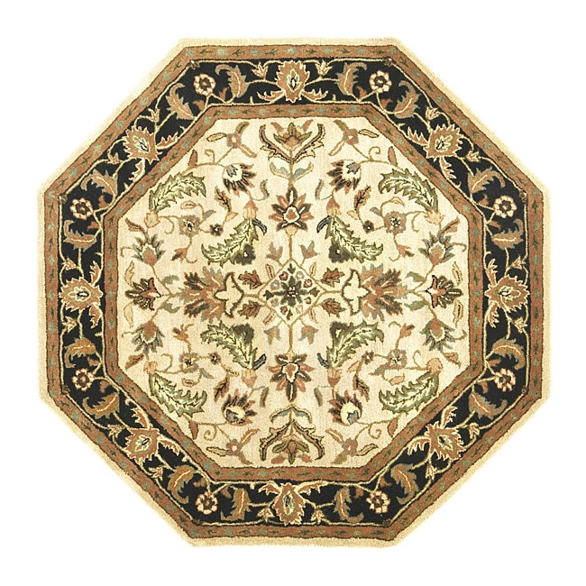 Hand Tufted Patina Beige Black Wool Rug 6 Octagon
