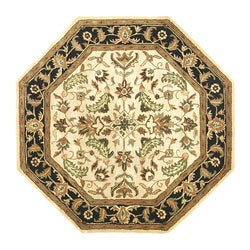 Hand-tufted Patina Beige/ Black Wool Rug (6' Octagon)
