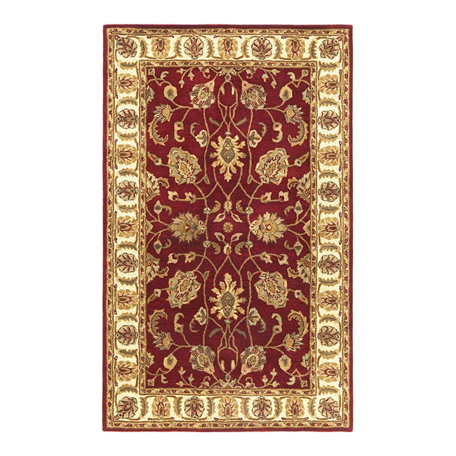Hand Tufted Agra Red Gold Wool Rug 8 Round: Hand-tufted Agra Red/ Gold Wool Rug (5' X 8')