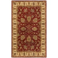 Hand-tufted Agra Red/ Gold Wool Rug (5' x 8') - 5' x 8'