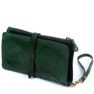 Old Trend Casey Leather Clutch - S (Option: Green - Zipper - Leather)