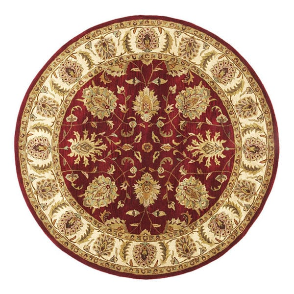 Hand-tufted Agra Red/ Gold Wool Rug (6' Round)