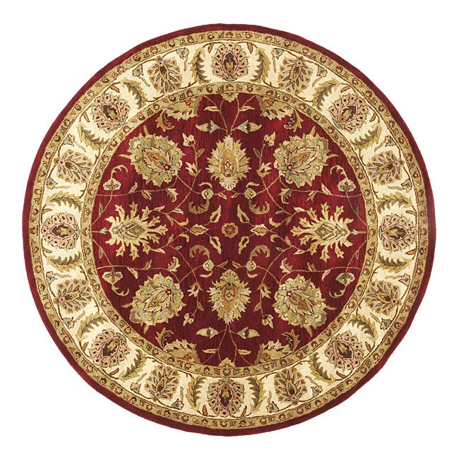 Hand-tufted Agra Red/ Gold Wool Rug (8' Round) - Hand-tufted Agra Red/ Gold Wool Rug (8' Round) - Free Shipping
