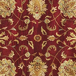Hand-tufted Agra Red/ Gold Wool Rug (8' Round) - Thumbnail 1