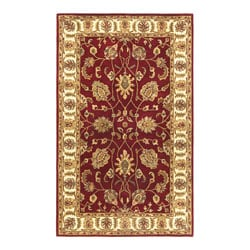 Hand-tufted Agra Red/ Gold Wool Rug (8' x 11')