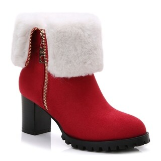 Rosewand Women's 'Sumbe' Fur Trim Foldable Shaft Booties