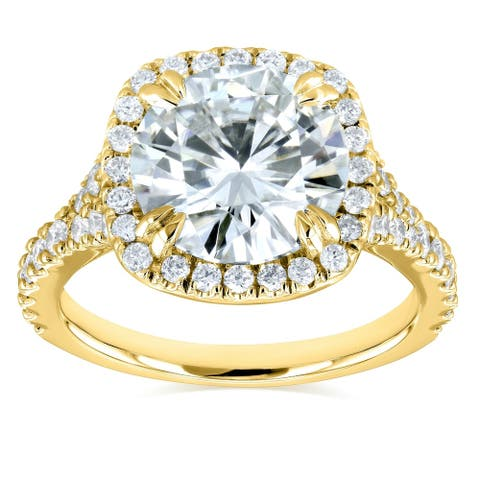 Annello by Kobelli 14k Gold 3 5/8ct TGW Round Moissanite and Diamond Halo Split Shank Engagement Ring