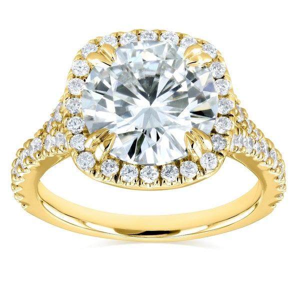 Annello by Kobelli 14k Gold 3 5/8ct TGW Round Moissanite and Diamond Halo Split Shank Engagement Ring. Opens flyout.