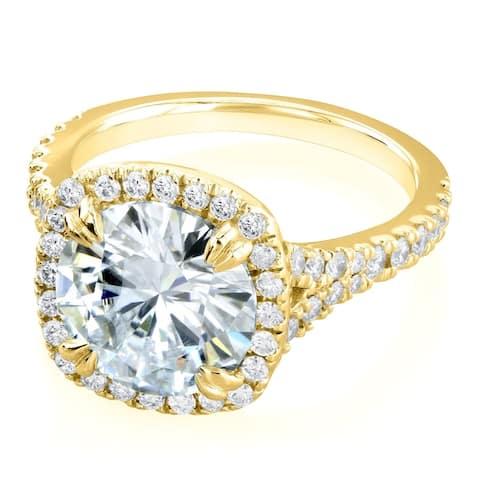 Annello by Kobelli 14k Gold 3 5/8ct TGW Round Moissanite and Diamond Halo Split Shank Engagement Ring