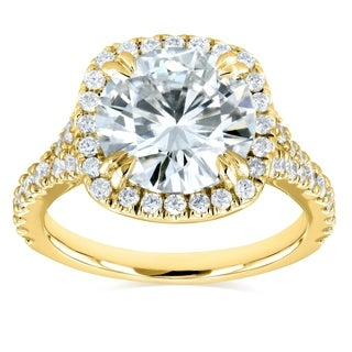 Annello by Kobelli 14k Gold 3 5/8ct TGW Round Moissanite (HI) and Diamond Halo Split Shank Engagement Ring